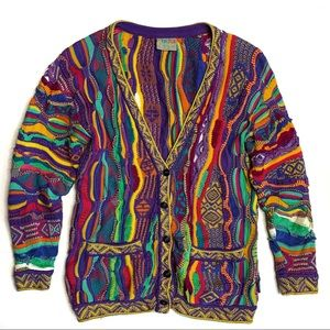 COOGI 90's Style Textured Colorful Cardigan
